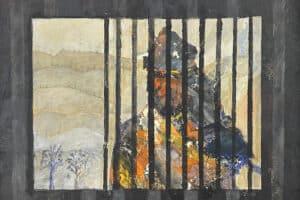 Tayseer Barakat, Shoreless Sea #31, 2019, acrylic on canvas, 42 x 47 cm