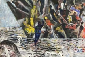 Tayseer Barakat, Shoreless Sea #41, 2019, acrylic on canvas, 47 x 42 cm