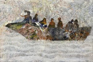 Tayseer Barakat, Shoreless Sea #42, 2019, acrylic on canvas, 47 x 42 cm