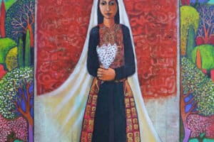 Nabil Anani, The Bride (2005), acrylic on canvas, 100 x 90 cm