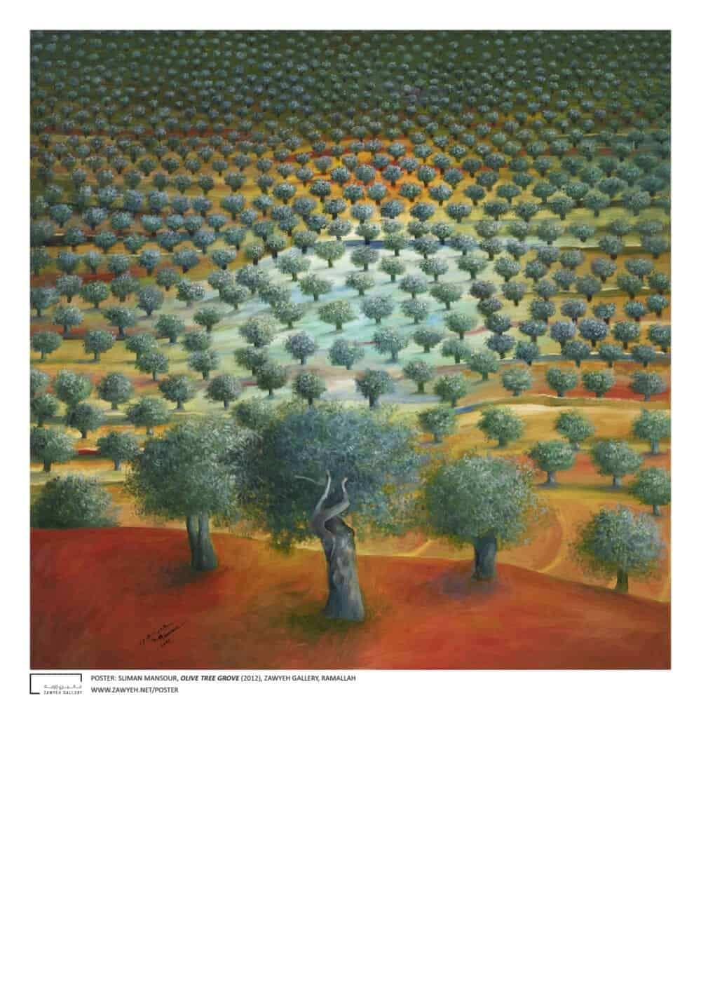 Olive Tree Grove by Sliman Mansour Poster