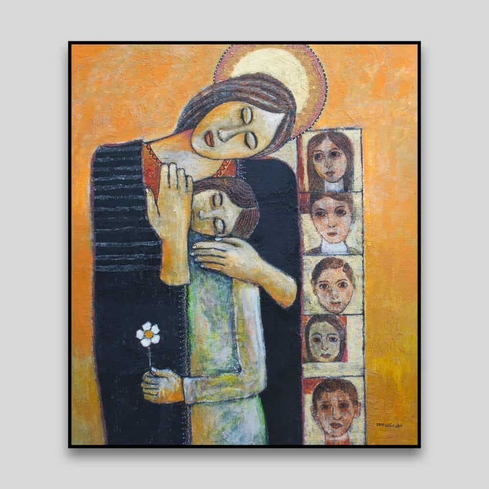 Holy Family # 3 by Nabil Anani - Canvas