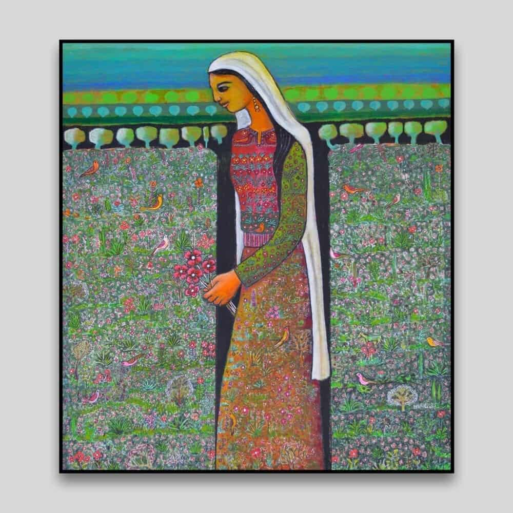 Woman in a Field by Nabil Anani - Canvas