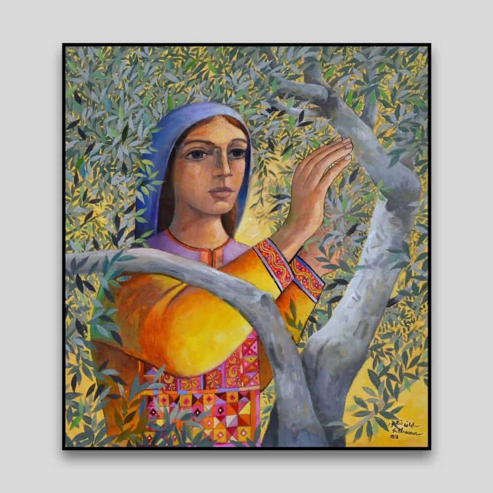 Woman Picking Olives by Sliman Mansour - Canvas
