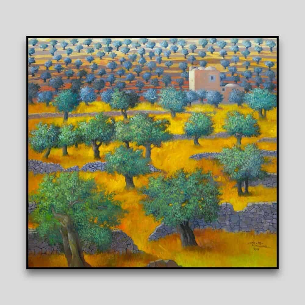 Landscape With Olive Trees by Sliman Mansour - Canvas