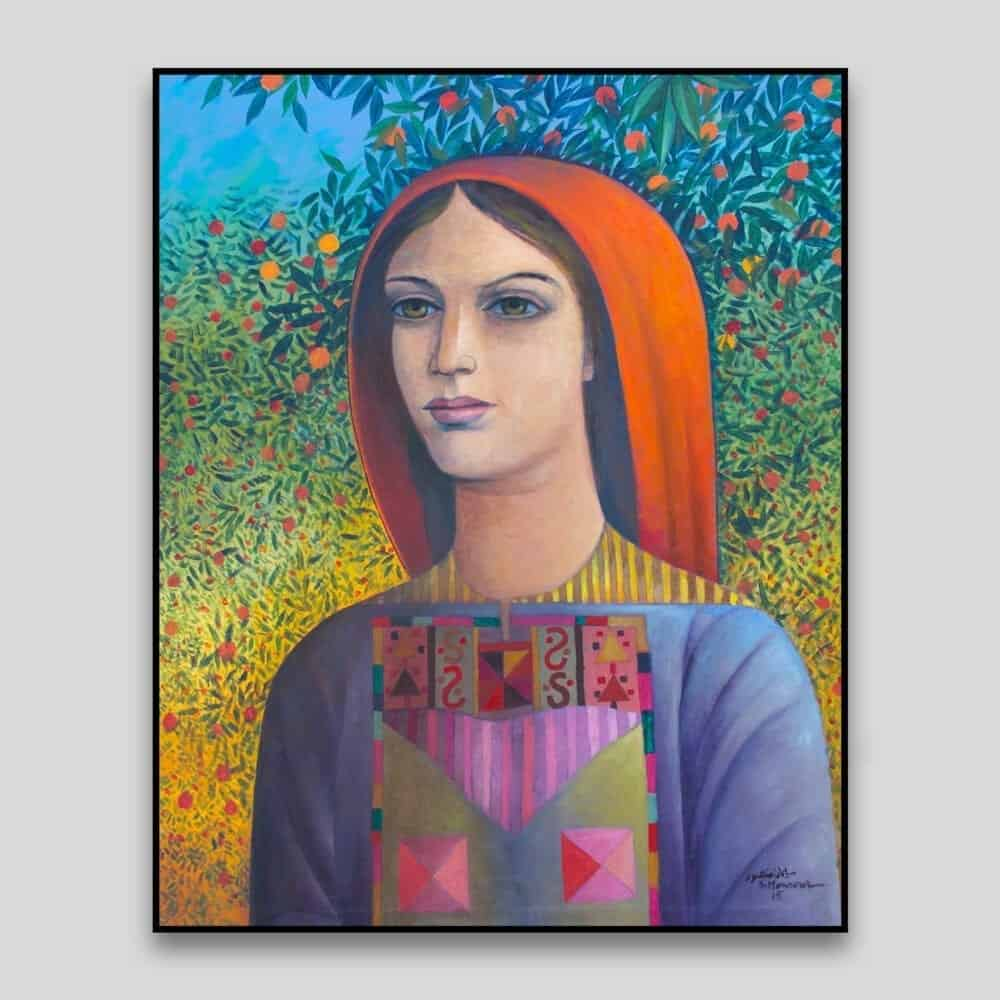 Palestinian Beauty by Sliman Mansour - Canvas