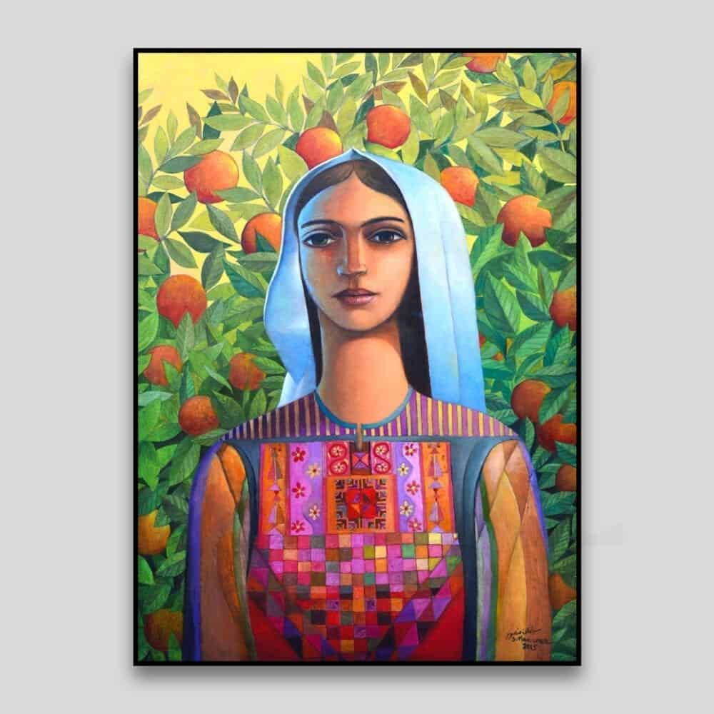 Portrait with Oranges by Sliman Mansour - Canvas