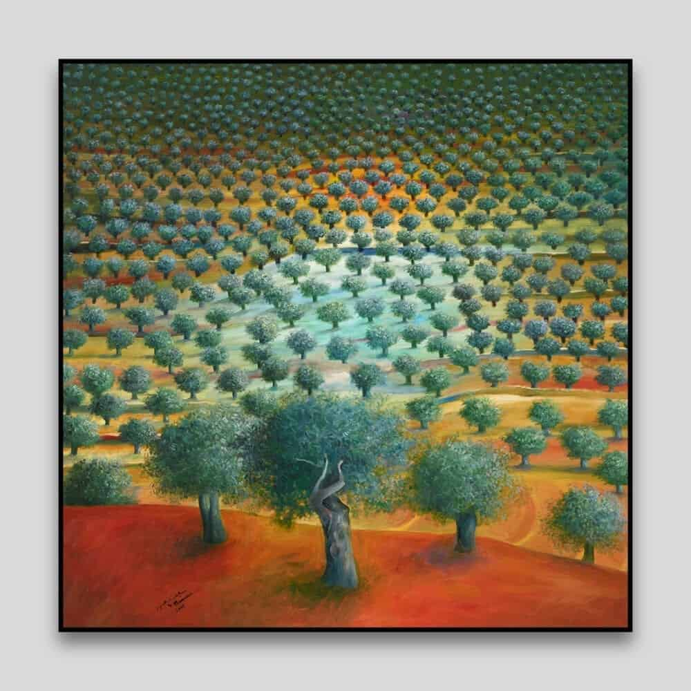 Olive Tree Grove by Sliman Mansour - Canvas