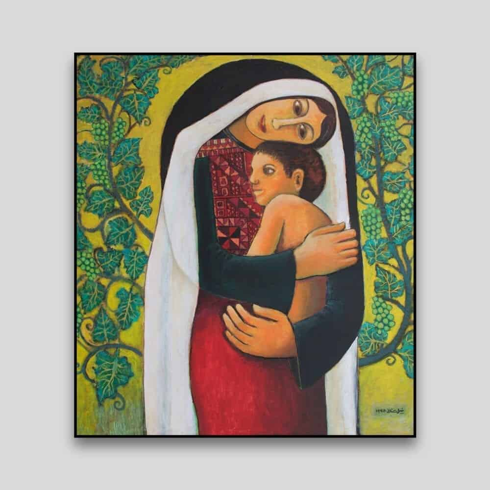Mother and Child Painting Motherland by Nabil Anani