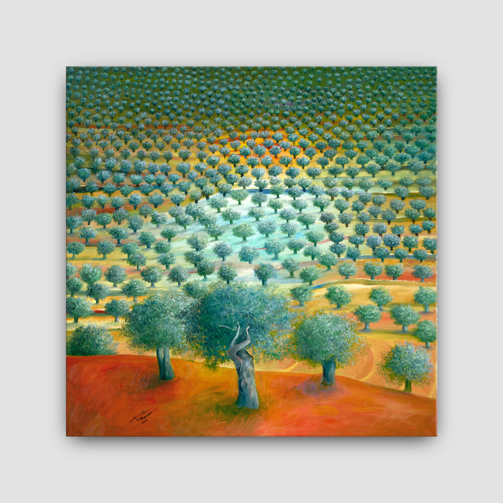 Olive Tree Painting Sliman Mansour