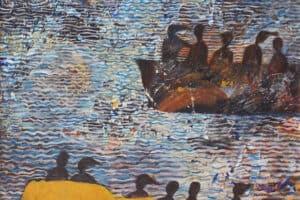 Tayseer Barakat, Shoreless Sea #14, 2019, acrylic on canvas, 47 x 42 cm