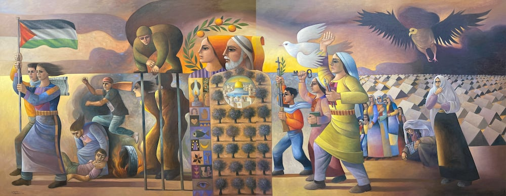 Sliman Mansour, Revolution was the Beginning (2016), oil on canvas, 200 x 500 cm