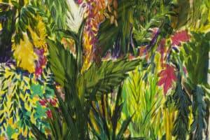 Bashar Alhroub, Silent Garden #11, 2020, acrylic on canvas, 100 x 100 cm