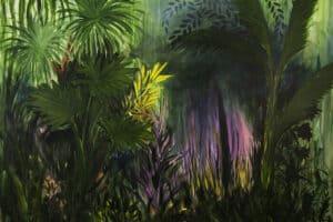 Bashar Alhroub, Silent Garden #2, 2019, acrylic on canvas, 200 x 200 cm