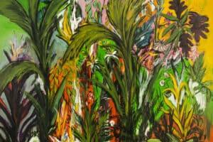 Bashar Alhroub, Silent Garden #4, 2020, acrylic on canvas, 150 x 150 cm