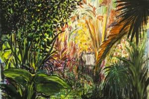 Bashar Alhroub, Silent Garden #5, 2020, acrylic on canvas, 150 x 150 cm