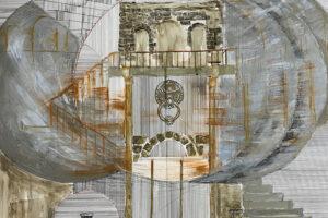 Yazan Abu Salameh, Time Pendulum (2021), ink and acrylic on paper, 110 x 75 cm