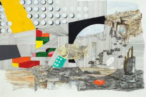 Yazan Abu Salameh, Fish Memory (2021), ink and watercolor on paper, 75 x 110 cm