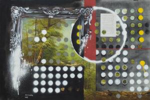 Yazan Abu Salameh, Transgression (2021), spray and collage on paper, 75 x 110 cm