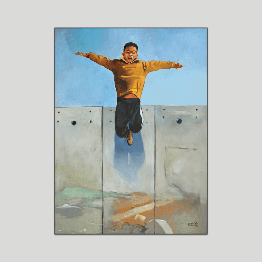 Nidal by Khaled Hourani Boy jumping off wall