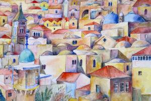 Hosni Radwan, Jerusalem Rooftops (2021), watercolor on paper, 40 × 50 cm